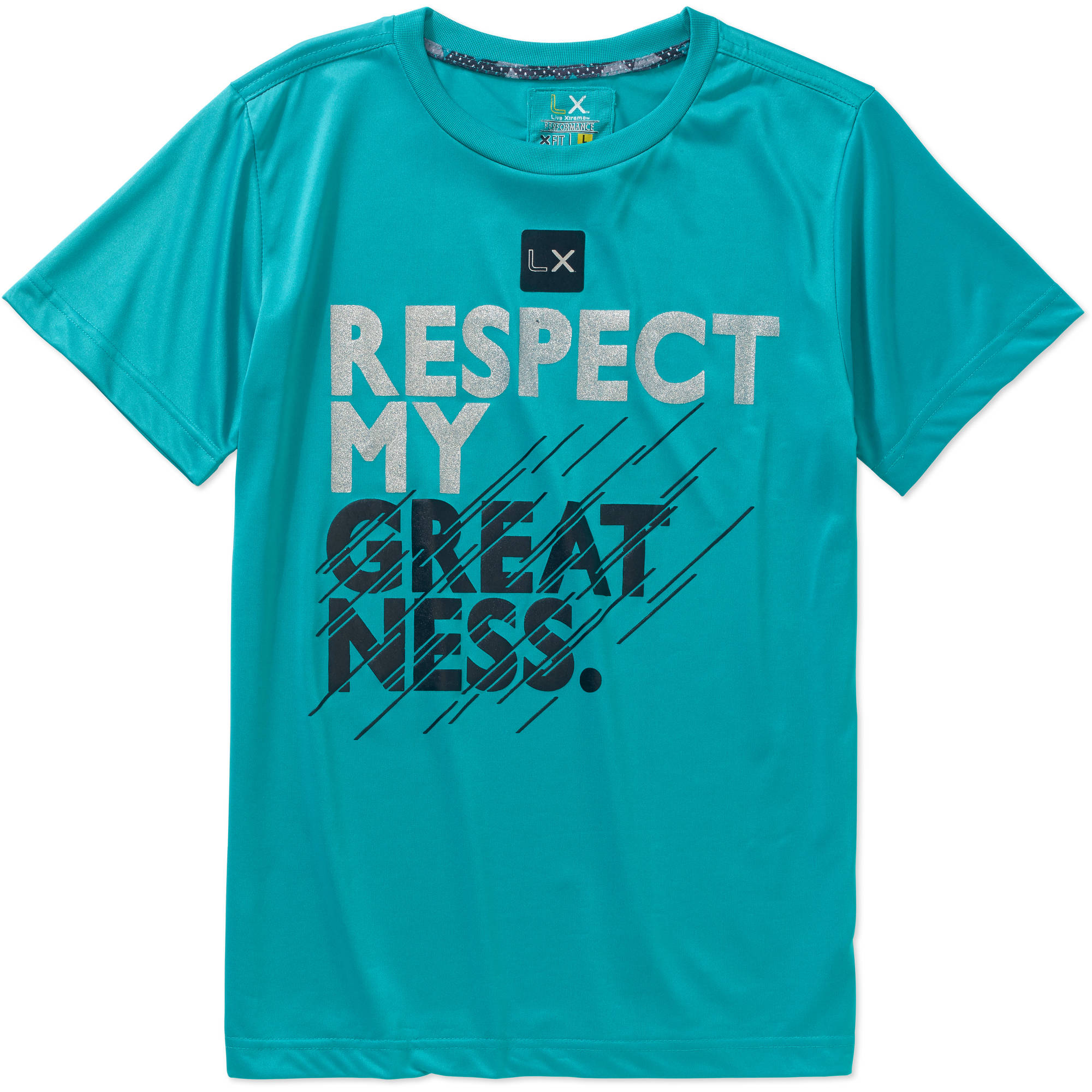 """Live Xtreme Boys' """"RESPECT MY GREATNESS."""" Performance Closed Hole Mesh Short Sleeve Graphic Tee"""