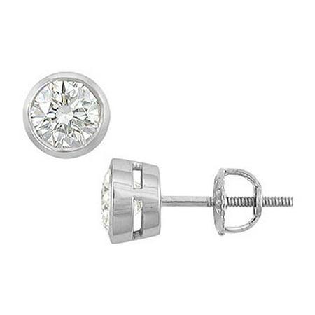 f83143c296ace 14K White Gold Bezel Set Round Diamond Stud Earrings 1.50 CT. TW ...