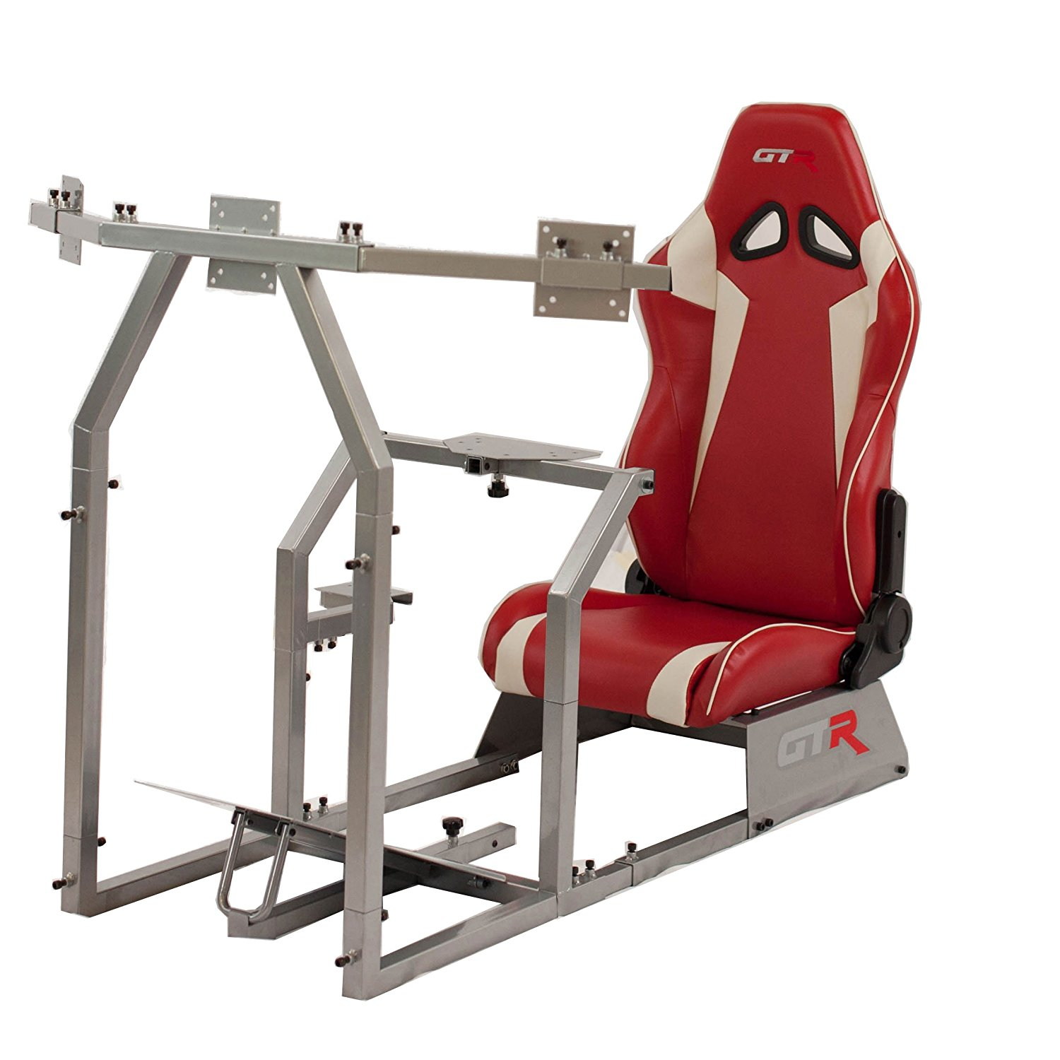 GTR Racing Simulator GTAF-S-S105LRDWHT - GTA-F Model (Silver) Triple or Single Monitor Stand with Red/White Adjustable Leatherette Seat, Racing Simulator Cockpit gaming chair Single Monitor Stand