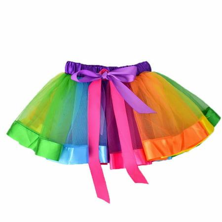 Kids Girl Colorful Tutu Skirt Girls Rainbow Tulle Tutu Mini Skirts Lovely Casual Daily rincess Dance Skirts Rainbow 0-1 years