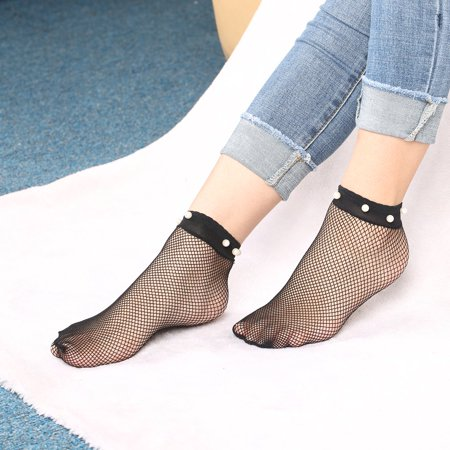 2017 Fashion Women Imitation Pearl Rivet Decoration Large Fishnet Ankle High Socks Hollow Out Design Fish Net Short Socks Black