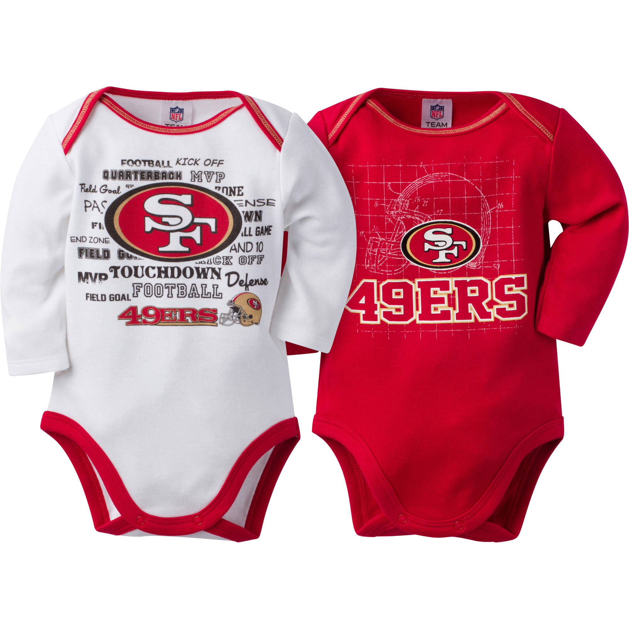 NFL San Francisco 49ers Baby Boys Long Sleeve Bodysuit Set, 2-Pack