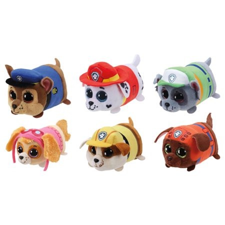 03fc4d675eb TY Beanie Boos - Teeny Tys Stackable Plush - Paw Patrol - SET OF 6 (4 inch)  (Chase