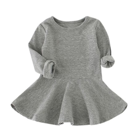 CARLTON Baby Girls Candy Color Long Sleeve Solid Princess Casual Toddler Kids Dress - Casual Dress Up For Girls