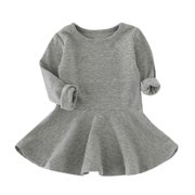 CARLTON Baby Girls Candy Color Long Sleeve Solid Princess Casual Toddler Kids Dress