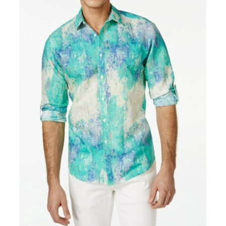 Inc new teal green mens size small s roll tab printed for Mens teal button down shirt