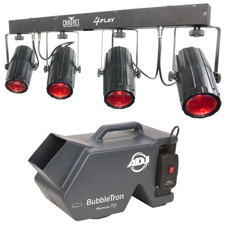 (NEW! CHAUVET 4PLAY LED DMX Novelty Light Beam Bar System +ADJ BubbleTron Machine)