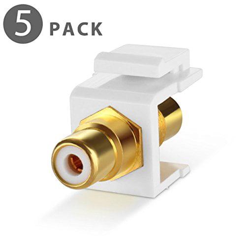 HTTX RCA Female to Female Coupler Adapter RCA Keystone Jack Inserts 3-Pack