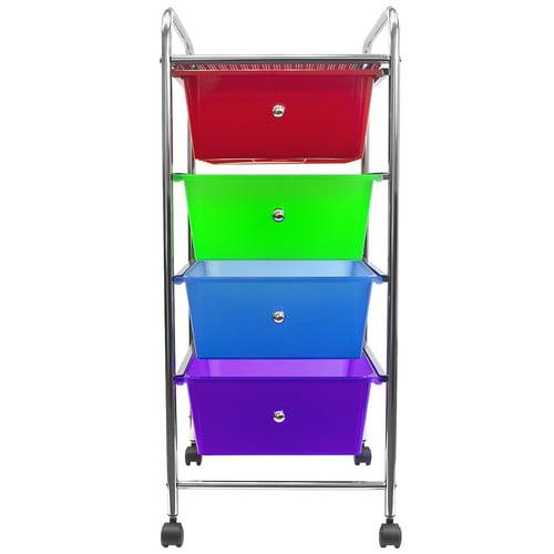Sorbus 4 Drawer Organizer Rolling Cart Storage Bins on Wheels Red