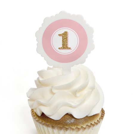 1st Birthday Cupcake Theme (1st Birthday Girl - Fun to be One - Cupcake Picks with Stickers - First Birthday Party Cupcake Toppers - 12)