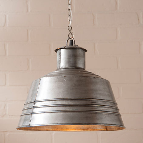Canning Table Pendant in Brushed Tin