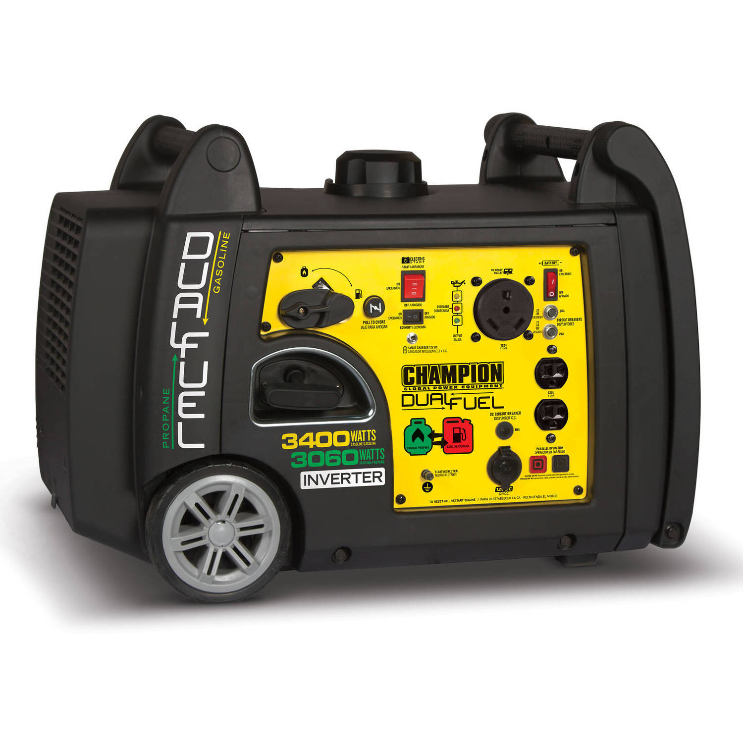 Champion 100263 3400 Watt Dual Fuel RV Ready Portable Inverter Generator with Electric Start