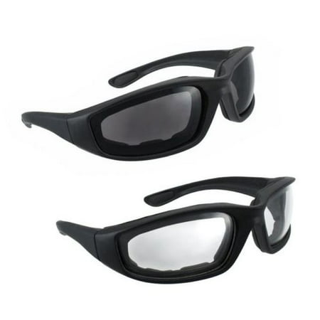 2 Pairs BLACK Motorcycle Sunglasses Driving Padded Foam Riding Glasses (Cool Motorcycle Glasses)