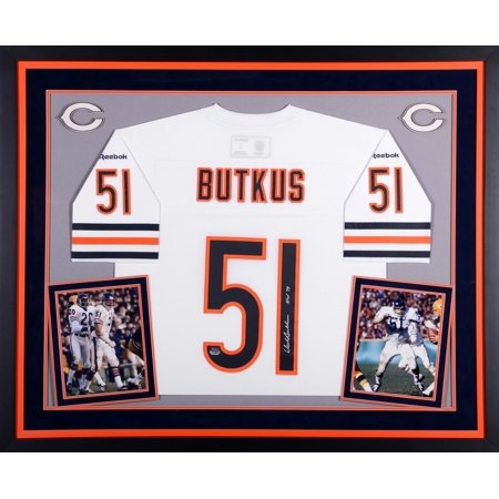 Dick Butkus Chicago Bears Autographed Deluxe Framed White Reebok EQT Jersey with