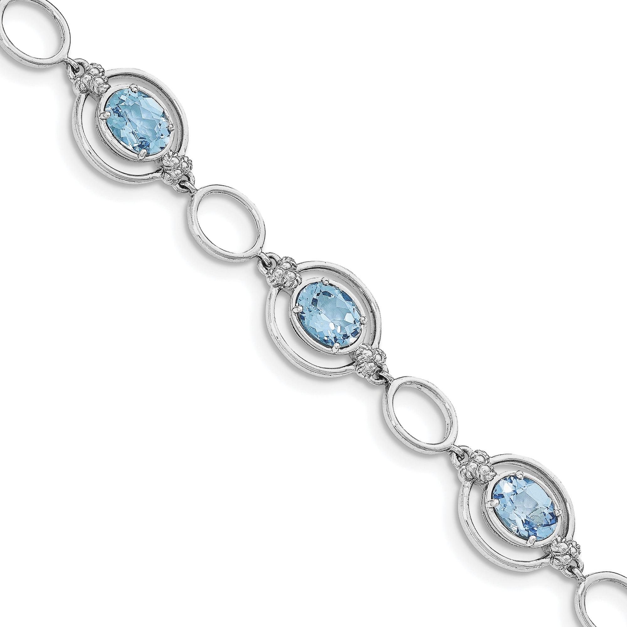 925 Sterling Silver Rhodium-plated Lt. Swiss Blue Topaz Open Link Bracelet by