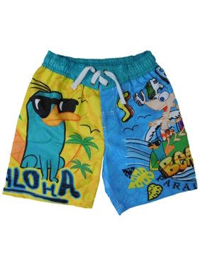 Phineas and Ferb Agent P Boys Yellow & Blue Swim Trunks Board Shorts 4