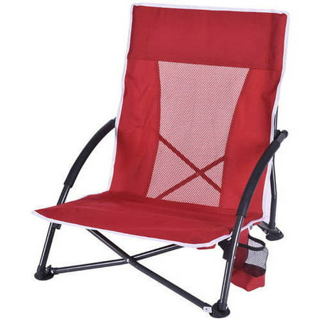 Ozark Trail Low Profile Steel Frame Chair with Carry Bag, Red