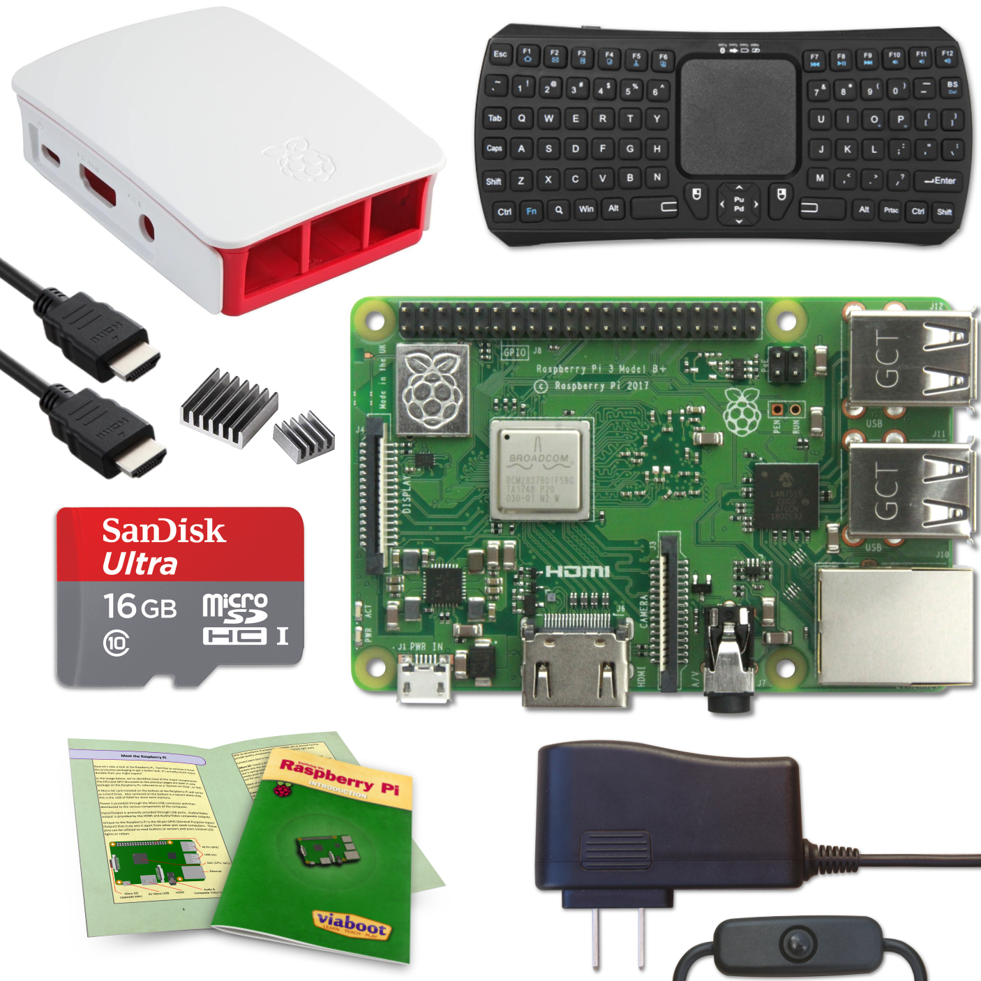 Viaboot Raspberry Pi 3 B+ Keyboard (Bluetooth Edition) Kit with Premium Black Case