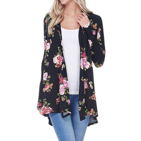 Cheetah Print Cardigan - LMart Women Floral Printed Long Sleeve Kimono Cardigan Autumn Outwear