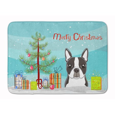 christmas tree and boston terrier machine washable memory foam mat