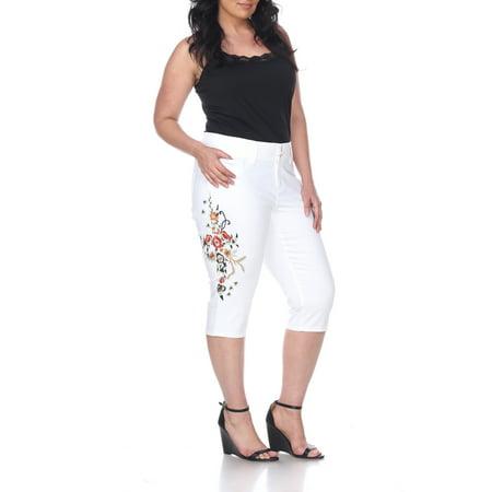 Embroidered Capris (Women's Plus Size White Embroidered Capri Jeans)