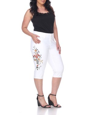 Women's Plus Size White Embroidered Capri Jeans