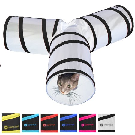 Tunnel of Fun Collapsible 3 way Cat Tunnel Toy with Crinkle White Medi