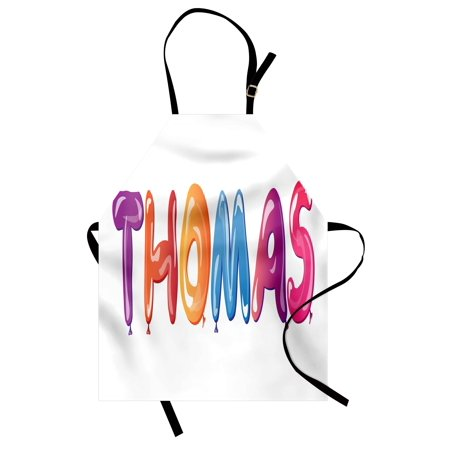 Thomas Apron Colorful Common American Boy Name with Religious Connection Festive Fun Balloons, Unisex Kitchen Bib Apron with Adjustable Neck for Cooking Baking Gardening, Multicolor, by Ambesonne