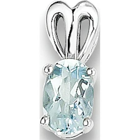 Aquamarine Jewelry - Leslies Fine Jewelry Designer 925 Sterling Silver Rhodium-plated Aquamarine (4x11mm) Pendant Gift