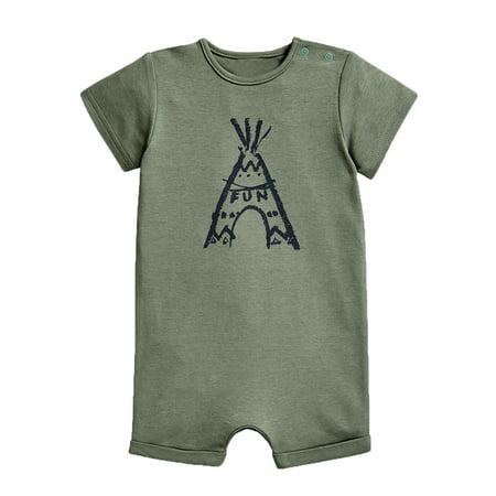stylesilove Baby Boy Cute Graphic Print Short-Sleeve Cotton Romper Onesie (80/6-12 Months, Green Volcano Fun)