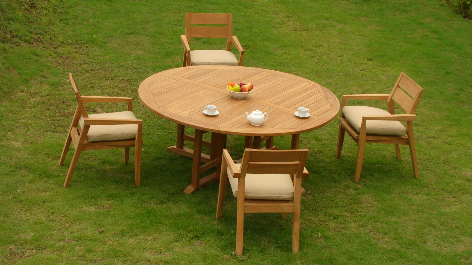 "5 PC A Grade Outdoor Patio Teak Dining Room Set 72"" Round Table & 4 Cellore Stacking Armchairs by"