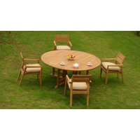 "5 PC A Grade Outdoor Patio Teak Dining Set - 72"" Round Table & 4 Cellore Stacking Arm Chairs"