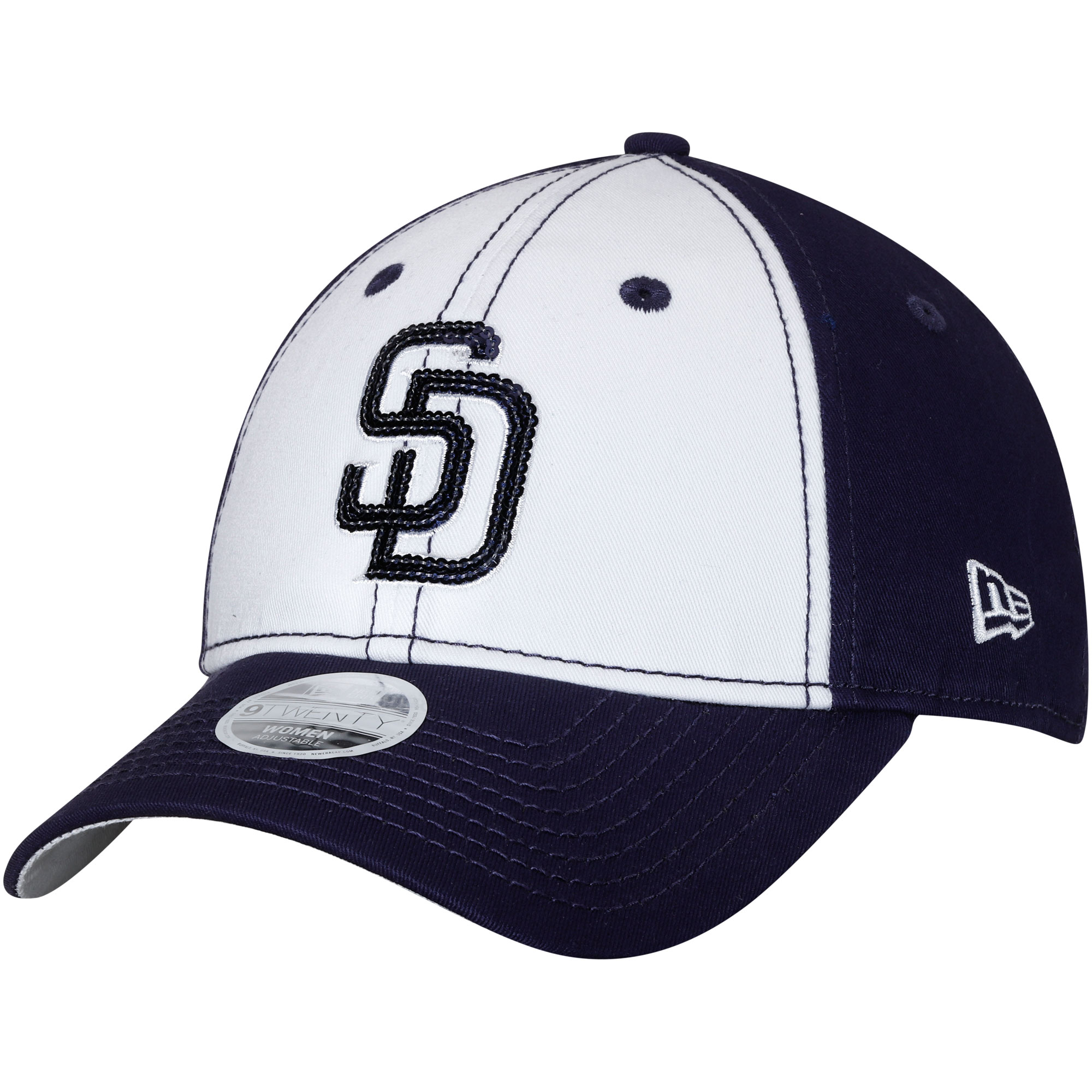 San Diego Padres New Era Women's Team Glimmer 9TWENTY Adjustable Hat - White/Navy - OSFA