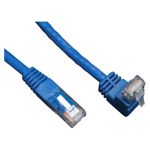 Tripp Lite 5ft Cat6 Gigabit Molded Patch Cable (RJ45 Right Angle to RJ45) - Blue