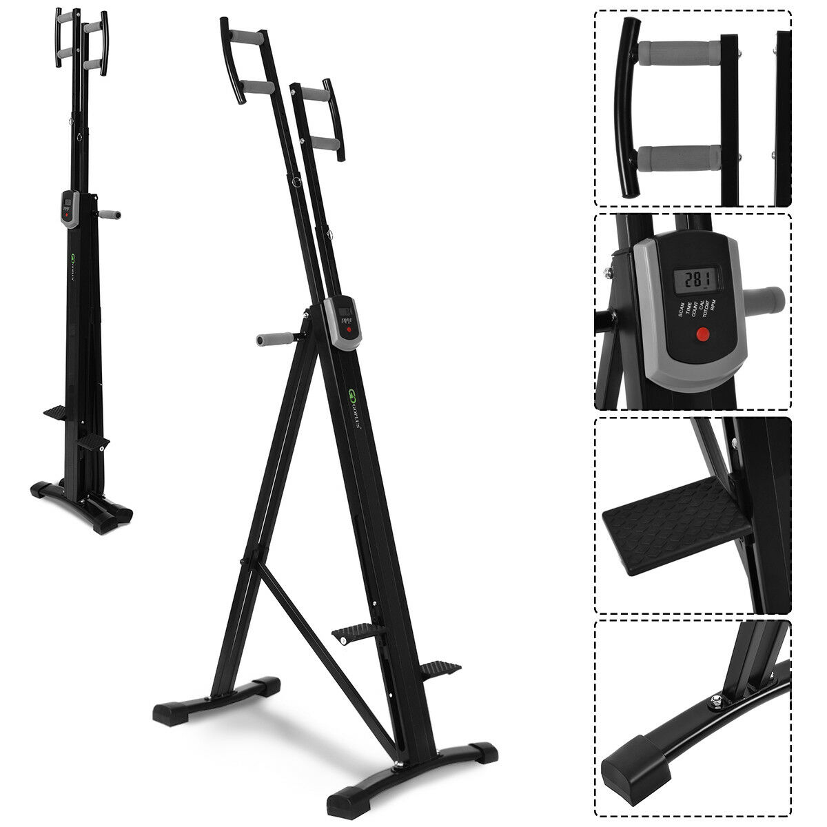 Costway Foldable Vertical Climber Machine Exercise Stepper Cardio Workout Fitness Gym