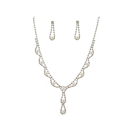 Wedding Jewelry Set Silver-tone Simulated Pearl Crystal Necklace Earrings Set (Crystal Pearl Set)