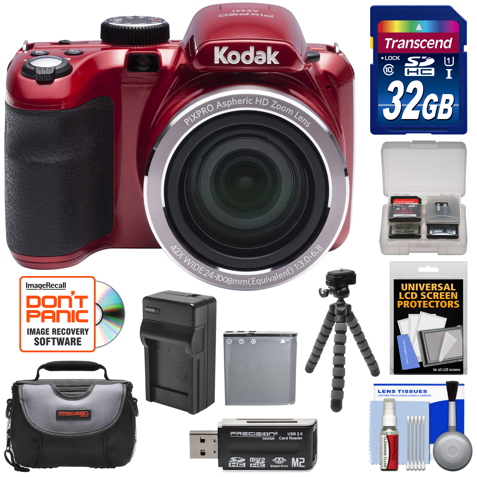 KODAK PIXPRO AZ421 Astro Zoom Digital Camera (White) with 32GB Card + Case + Battery/Charger + Flex Tripod + Kit