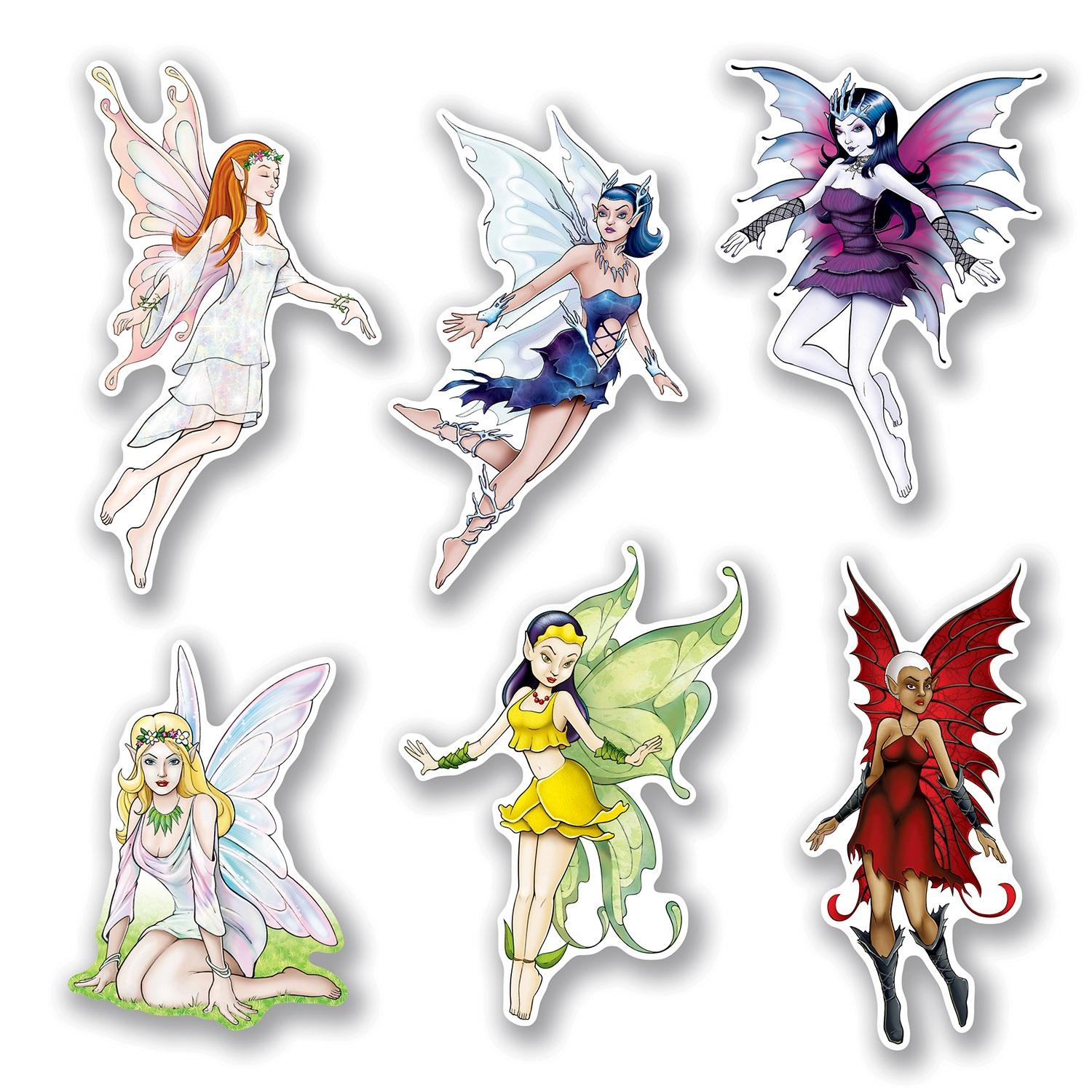 Club Pack of 72 Fantasy Princess Fairy Cutouts Party Wall Decorations 12""
