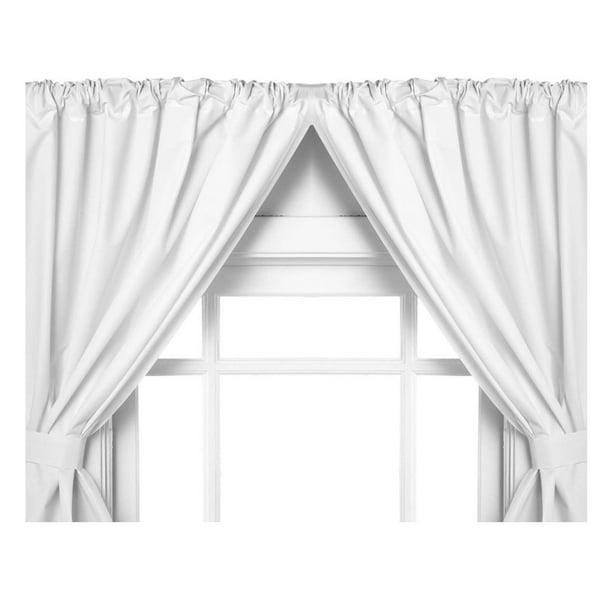 White Double Swag Vinyl Bathroom Window Curtains W Tie Backs 36 Lx45 W Walmart Com Walmart Com