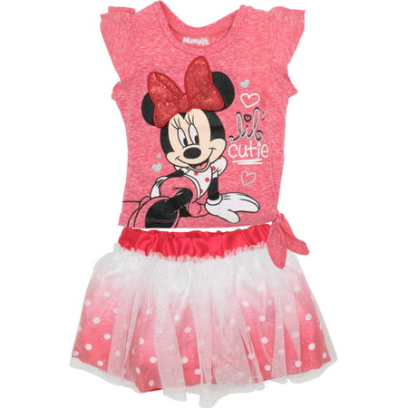 37ebea65 Disney Minnie Mouse Toddler Girls' Fashion T-shirt and Tulle Skirt Set, Red  (4T)