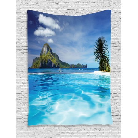 Landscape Tapestry, Landscape with Swimming Pool and Distant Island Tropic Exotic Hawaiian Theme, Wall Hanging for Bedroom Living Room Dorm Decor, Turquoise Green, by Ambesonne (Hawaiian Theme Decor)