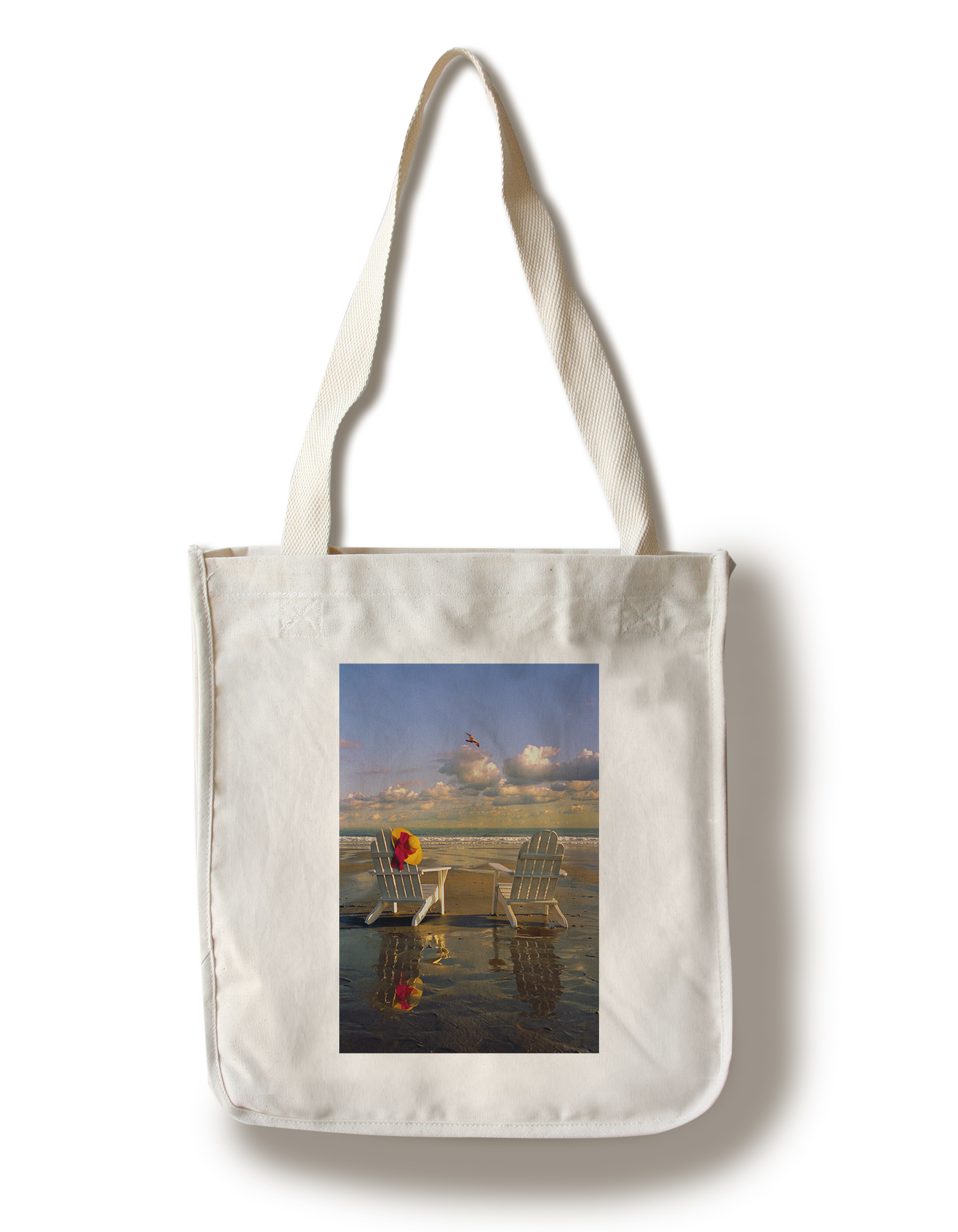 Chairs in Water IMage Only Adirondack Chairs on the Beach Lantern Press Photography (100% Cotton Tote Bag Reusable) by Lantern Press