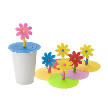 Aspire 6 PCS Cute Flower Silicone Drink Cup Lids, Creative Mug Cover Airtight Seal (Cute Cups)