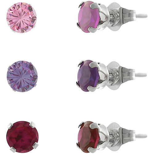 Brinley Co. Round-Cut CZ Sterling Silver Stud Earrings Set, 3 Pairs