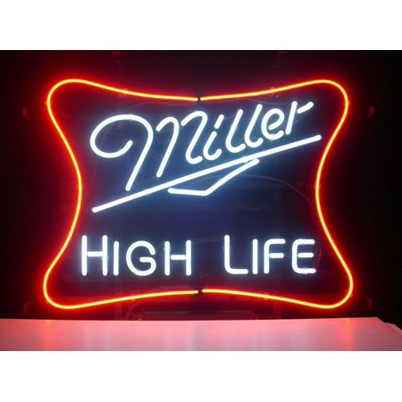 - Desung Brand New Miller Lite High Life Neon Sign Lamp Glass Beer Bar Pub Man Cave Sports Store Shop Wall Decor Neon Light 20