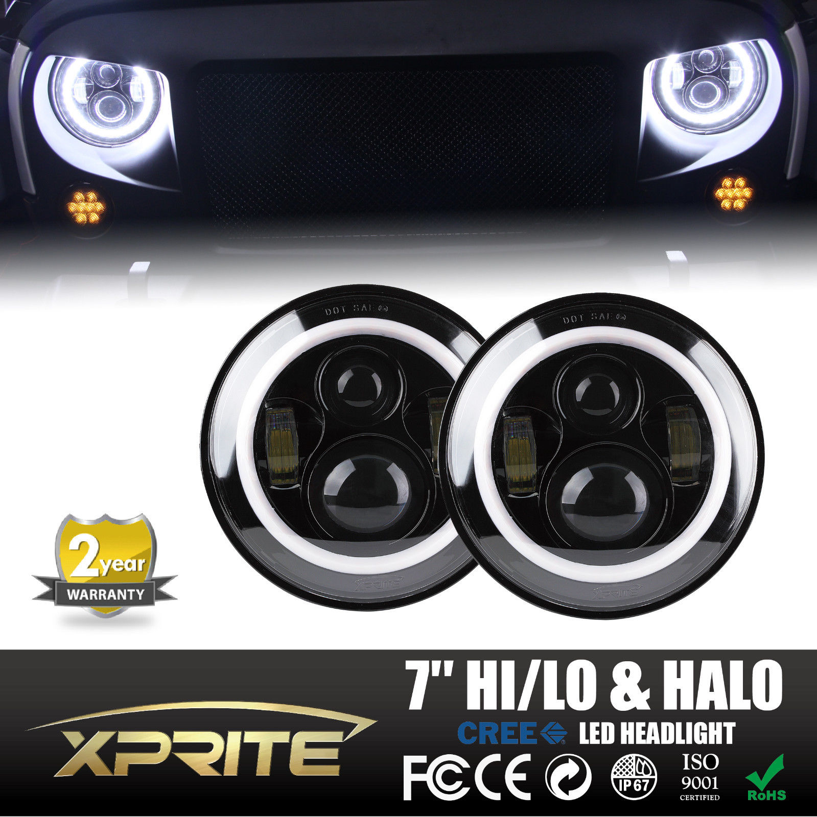 "Xprite 7"" Round 80W LED Headlights With Halo Angel Eyes For 97-17 Jeep Wrangler JK TJ LJ"