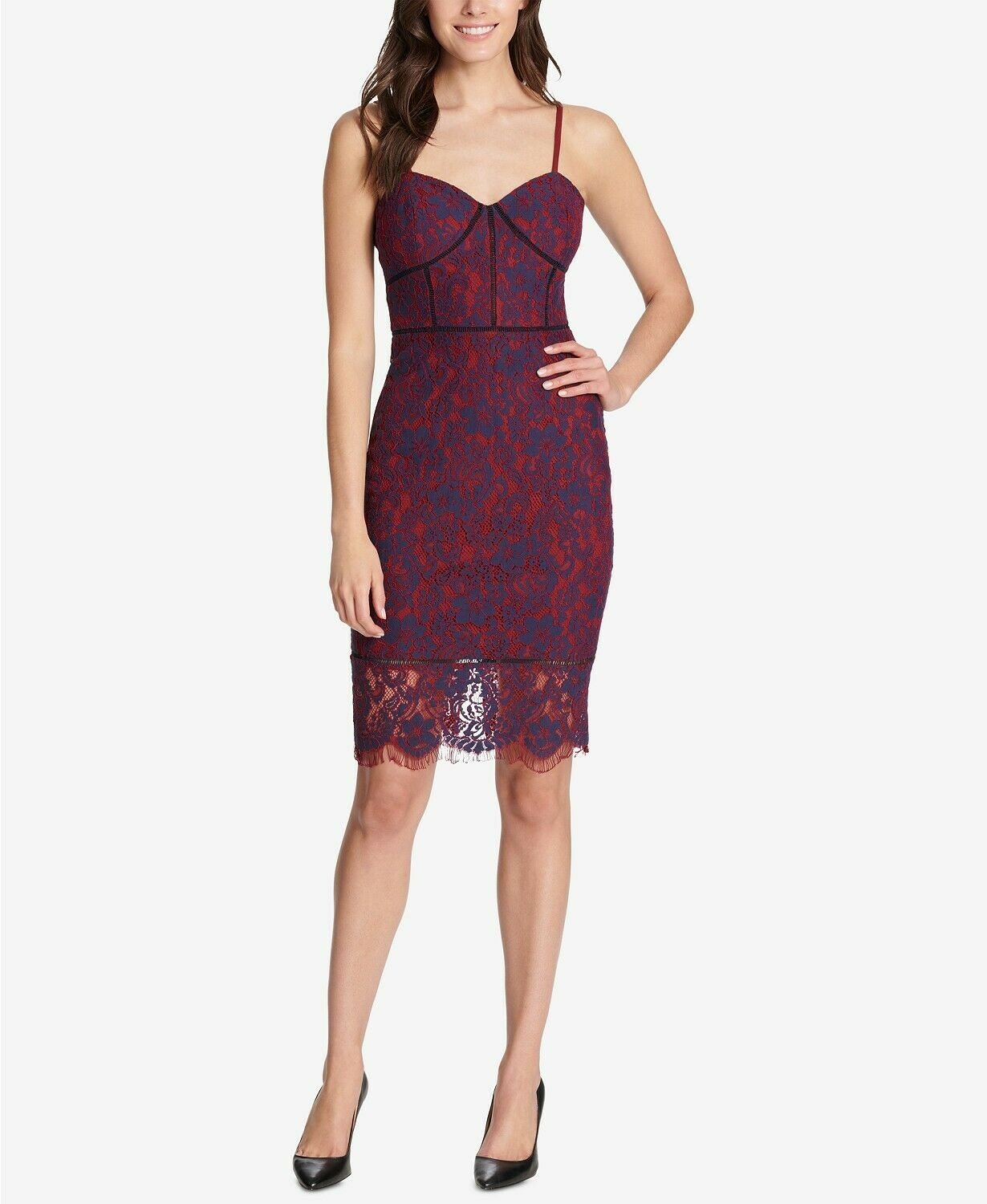 Red Skirt Simplicity Skintight Party Dress W//Sweetheart Lace Top