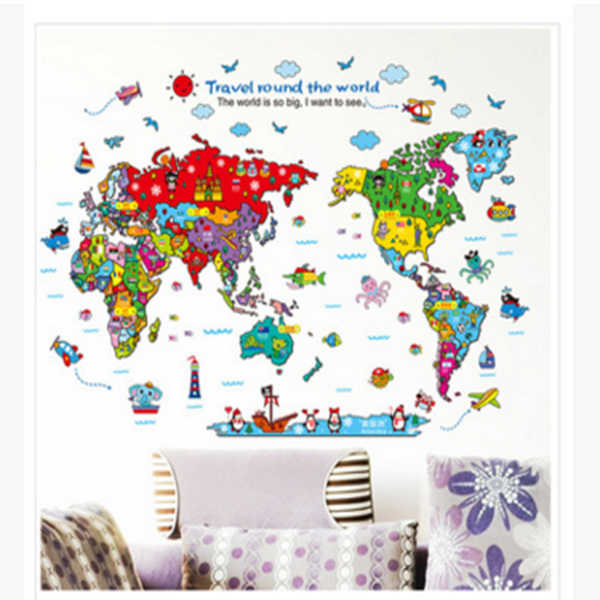 Animal World Travel Map Wall Stickers Art Decal Home Room DIY Decor For Kid Baby