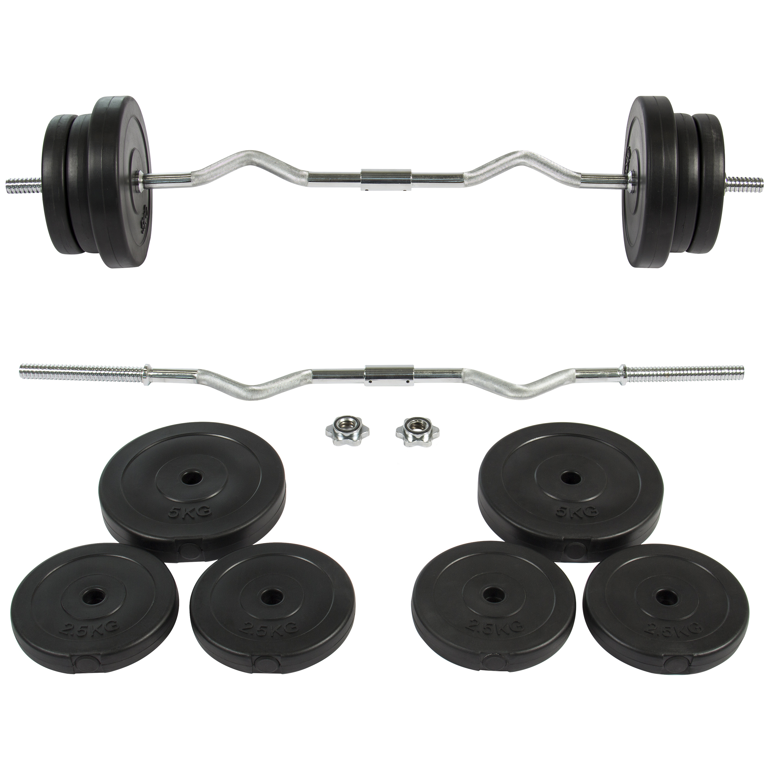 Best Choice Products 55lb 1in Ez Curl Bar Barbell Weight Set W 2 Lock Clamp Collars 6 Plates Silver Black