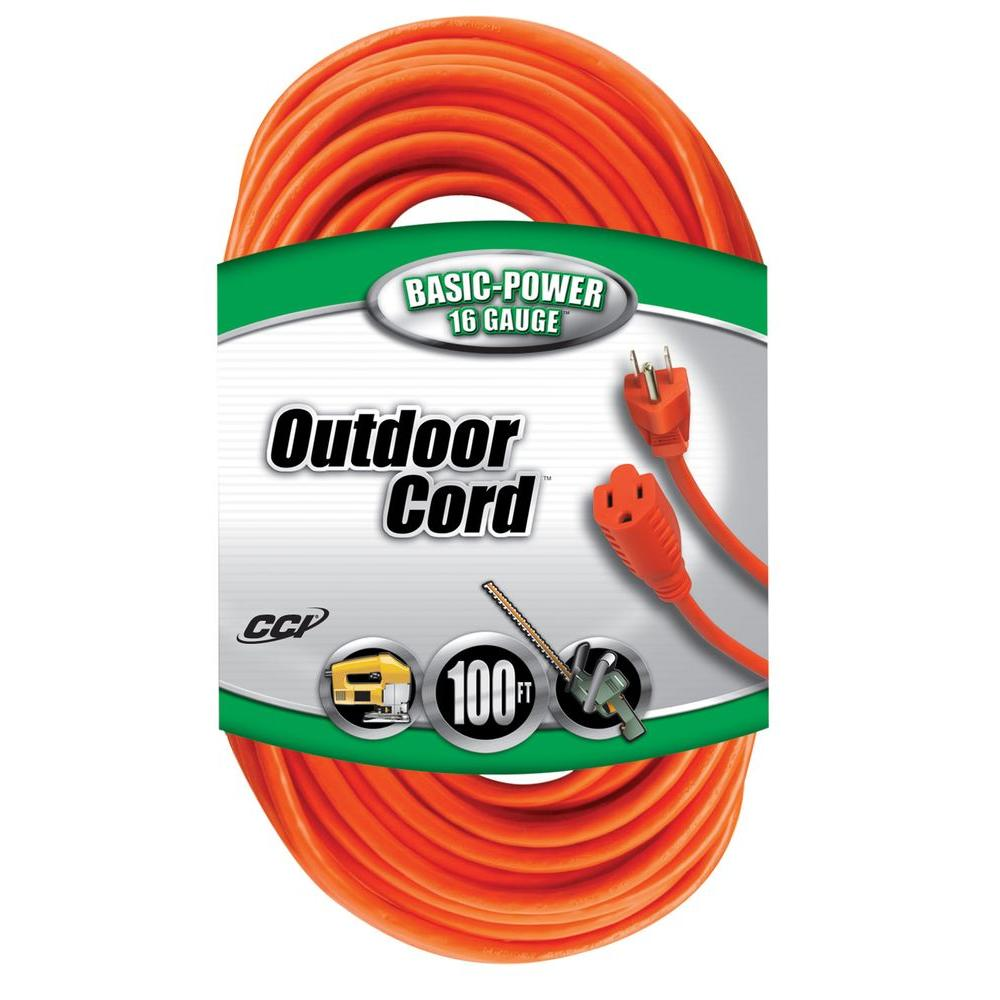 Coleman Cable 16/3 Vinyl Outdoor Extension Cord, Orange, 100-Feet
